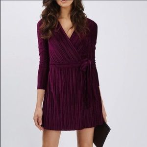Topshop burgundy wrap dress, size 6